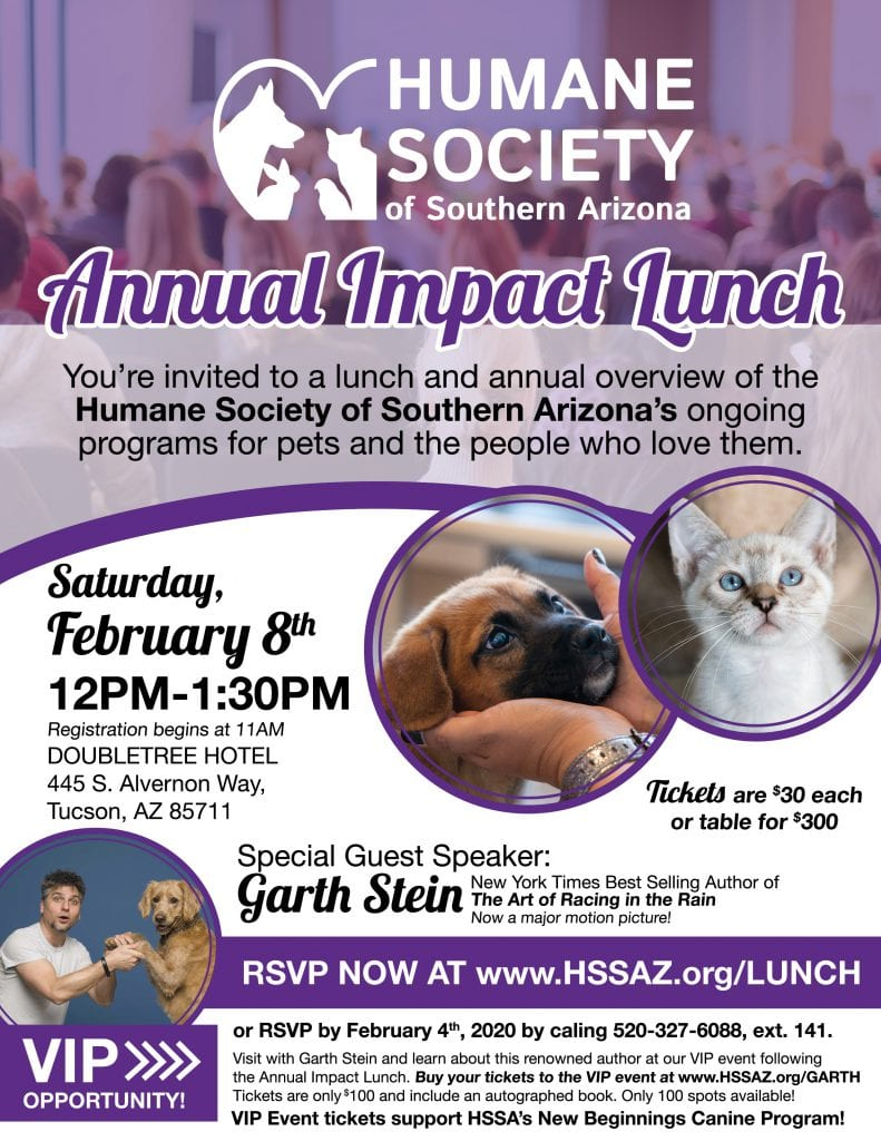 COMBINED FLYER Garth Stein Event Flyer - HSSA Annual Impact Lunch Theme