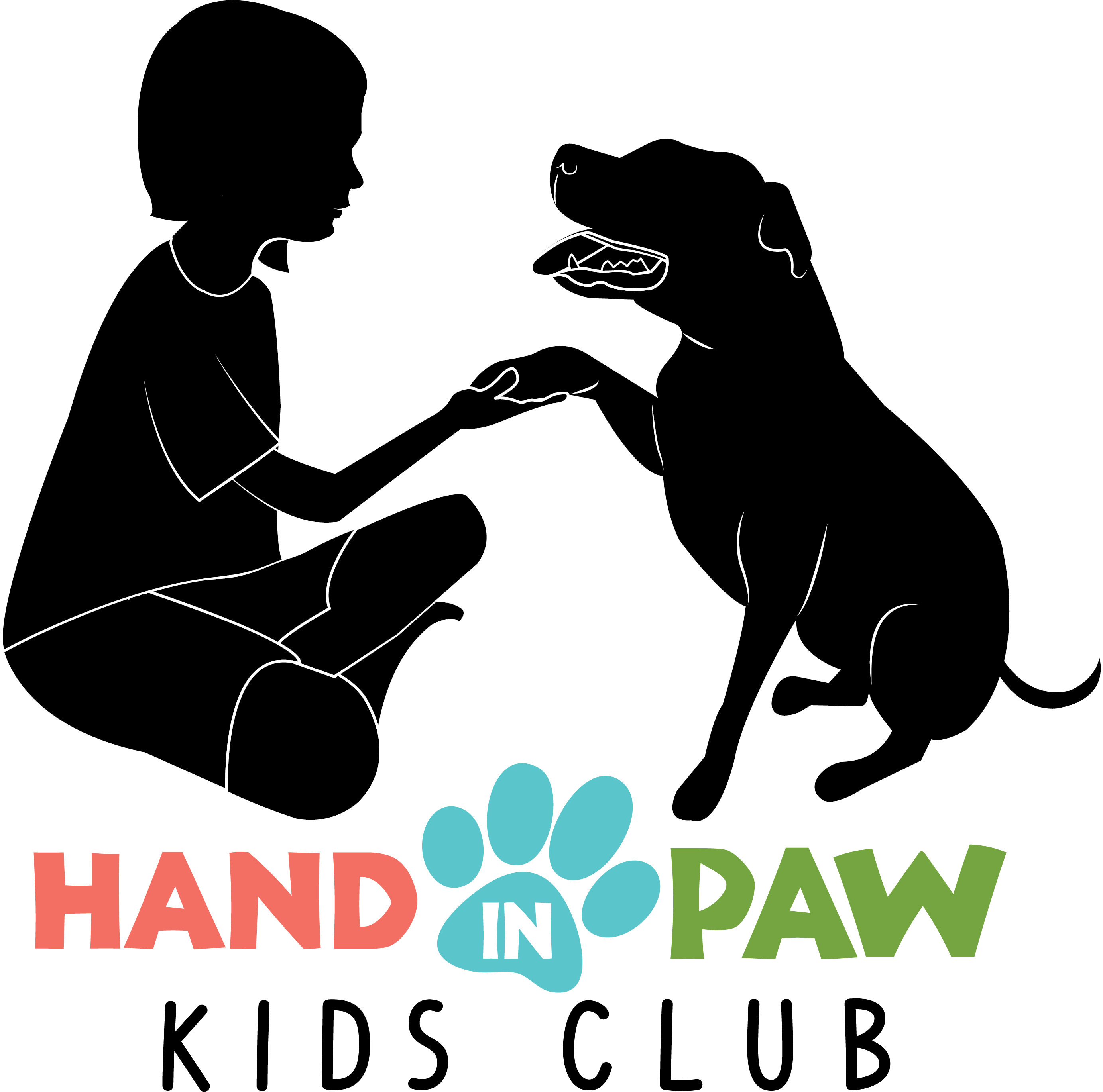 Hand in Paws Kid Club silhouettes Black with colored letters